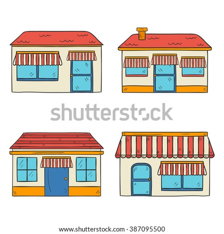 Vector illustration with store front view. Hand drawn cartoon store front view. Outdoor store house. Street architecture with store front view. Store facade design with shop window and door - stock vector