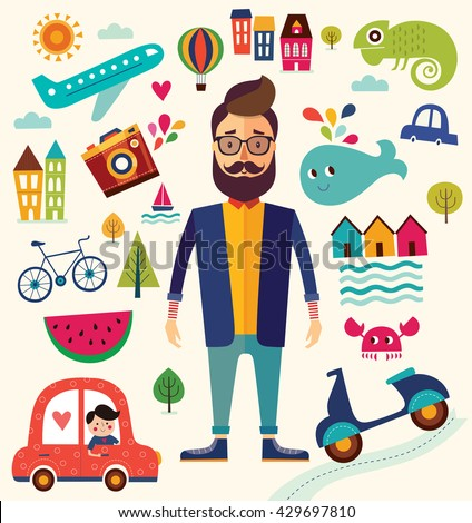 Vector illustration with summer symbols. Summer travel. Cities and landmarks. Pattern with man, car, motorbike, trees, houses. Cartoon pattern. Hipster man - stock vector