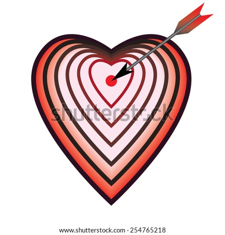 vector illustration with target as heart and arrow - stock vector