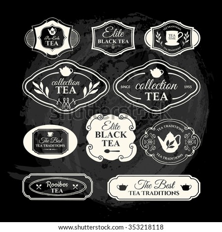Vector Illustration with tea logo and labels.  Simple symbols with cup and teapot. Traditions of tea time. Decorative elements for your design. Black and white style. - stock vector