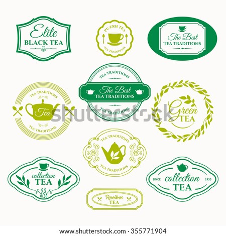 Vector Illustration with tea logo on white background. Simple symbols with cup and teapot. Traditions of tea time. Decorative elements for your design. - stock vector