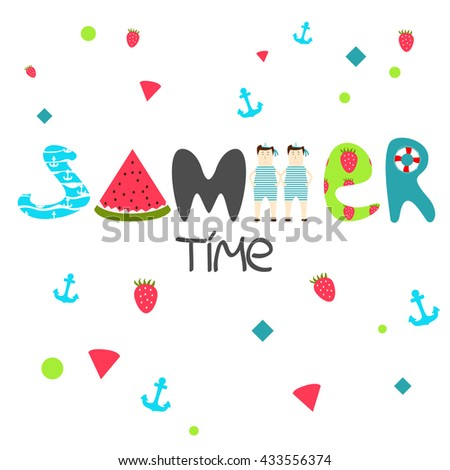 Vector illustration with text Summer time - stock vector