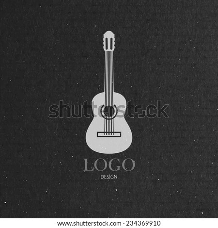 vector illustration with the guitar on cardboard texture. music logo design  - stock vector