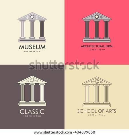 Vector illustration with the image of a classical building with three antique columns. It can be used as a logo for the architectural firm or a museum. Colorful and outline options. - stock vector