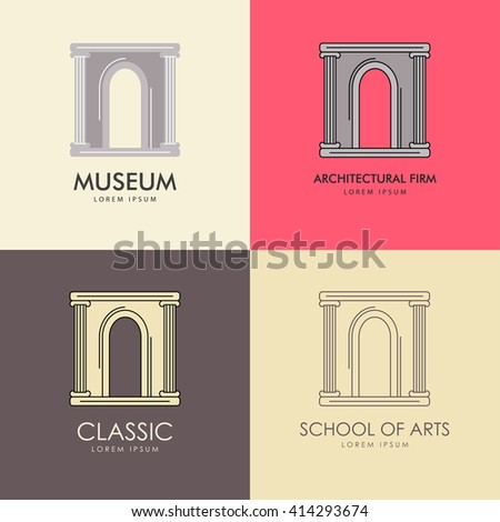 Vector illustration with the image of an antique arch. It can be used as a logo for the architectural firm or a museum. Monochrome and outline options. - stock vector