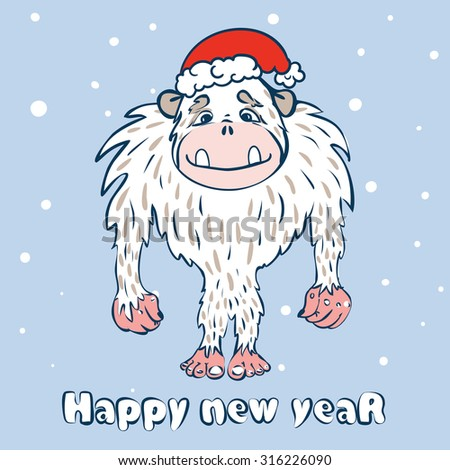 Vector Illustration With The Image Of Monkey In Christmas Cap Place For Your