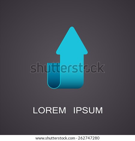 Vector illustration with the image of the pointer upward - stock vector