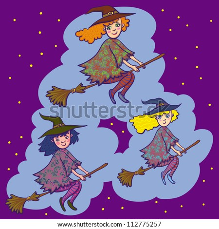 Vector Illustration With Three Little Witches On Brooms.