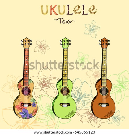 Vector illustration with traditional Hawaiian guitar ukulele tenor in three different versions: wood, color and pattern. Signed with lettering.