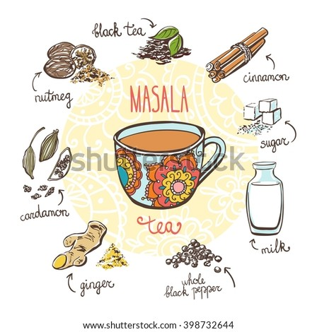 Vector illustration with traditional indian hot drink Masala tea. Hand drawn ornate cup and doodle ingredients: milk, sugar and spices. Recipe card with isolated objects on white background. - stock vector