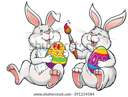 Vector illustration with two happy lovely rabbits paint the easter eggs.