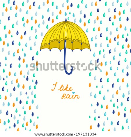 Vector illustration with umbrella and raindrops - stock vector