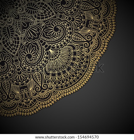 Vector illustration with vintage gold ornament and place for text. - stock vector