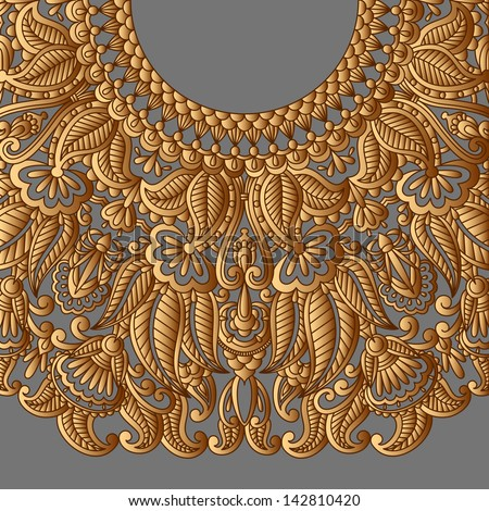 Vector illustration with vintage gold pattern for print, embroidery. - stock vector