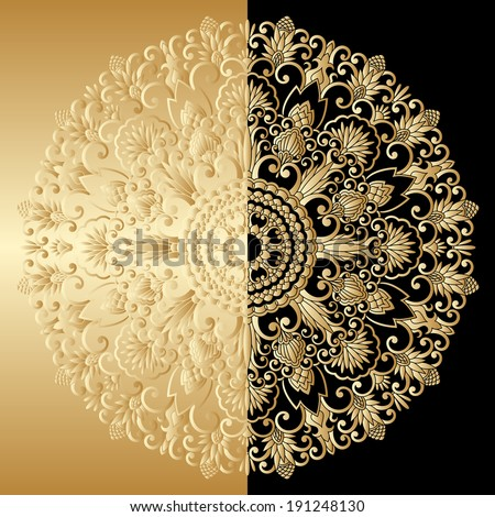 Vector illustration with vintage lace floral pattern. - stock vector