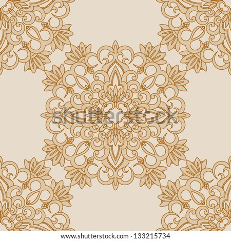 Vector illustration with vintage seamless pattern for print.