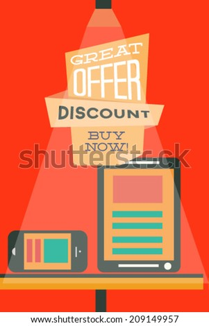 Vector illustration with web elements and discount banner