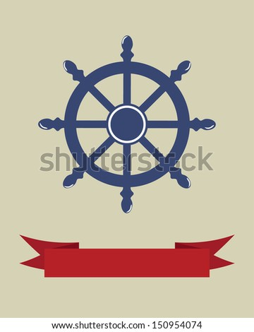 Vector illustration with wheel and banner for text. Vintage style. - stock vector