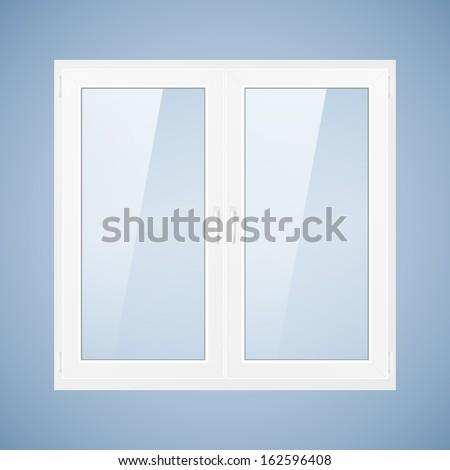 Vector illustration with white plastic window. PVC window - stock vector