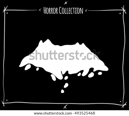 vector illustration with white shadowgraph grave ground on black background