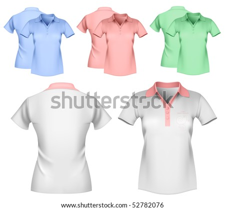 Vector illustration. Woman color and white polo shirt design template.
