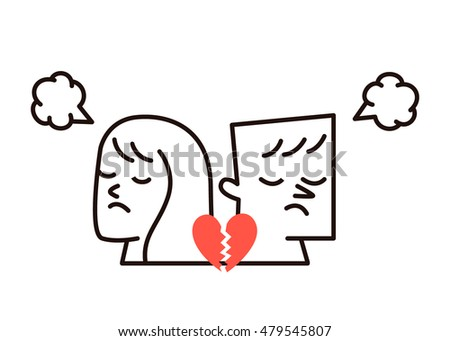 Vector illustration - woman, man and broken heart
