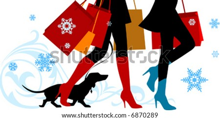 Vector illustration, woman sexy legs with bags. Christmas shopping - stock vector