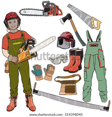 Vector illustration, wood cutter gear, cartoon concept, white background.