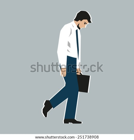 Vector illustration. Worker, man, was fired. Staff reductions due to the financial crisis. Unemployment due to the recession. Downsizing of office people. Loss of prospects because of the reduction. - stock vector