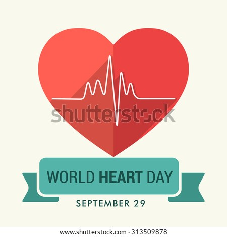 Vector illustration World Heart Day Background. - stock vector