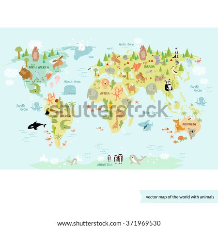 Vector illustration world map for children in gentle tones with lots of animals: bear, cow, elephant, whale, deer, hedgehog, the parrot, giraffe, crocodile, panda, monkey, giraffe, shark, fox, wolf - stock vector