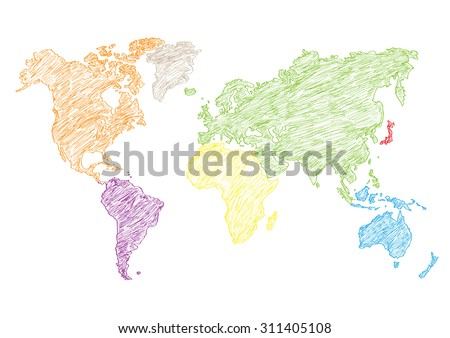vector illustration world map pencil sketched - stock vector