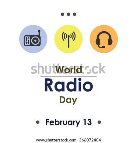 Vector illustration / World Radio Day - stock vector