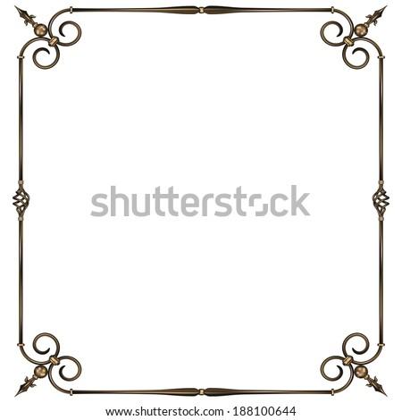 vector illustration wrought -iron frame. gradient  - stock vector