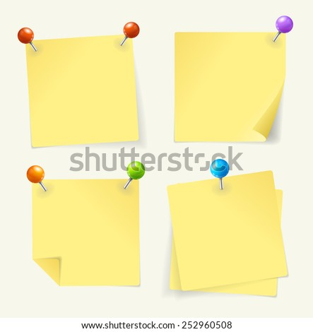 Vector illustration. yellow paper set  pinned  ready for your text