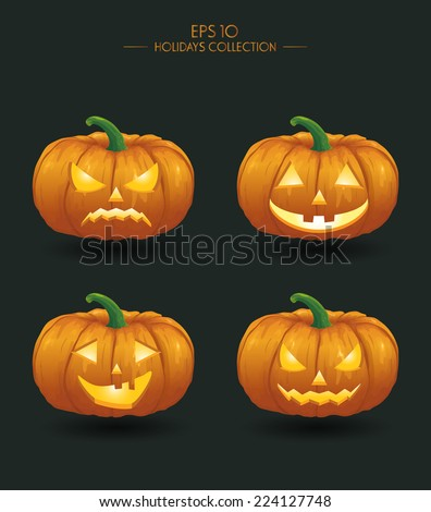 Vector illustration. Yellow pumpkins for Halloween. Jack-o-lantern facial expressions.  Horror persons on dark background - stock vector