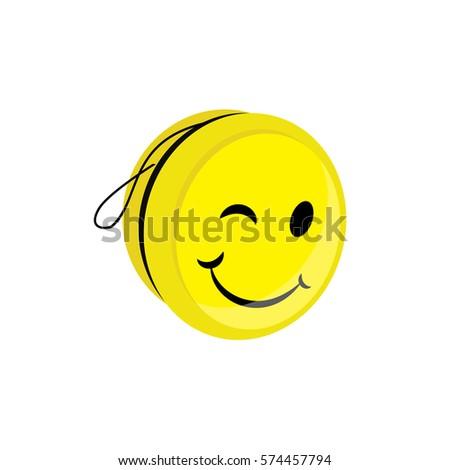 Vector illustration yellow yo yo toy stock vector 450120067 vector illustration yellow yoyo toy with smile yo yo symbol icon flat stopboris Images