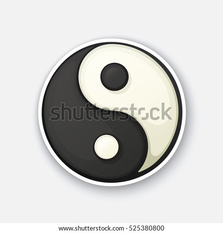 Vector illustration. Yin and Yang symbol of harmony and balance. Cartoon funny sticker in comic style with contour. Decoration for your posters, patches and prints for clothes, flyers, emblems