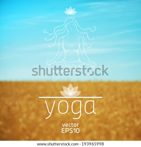 vector illustration. Yoga. Sketch of girl in lotus position on the background of field and sky - stock vector