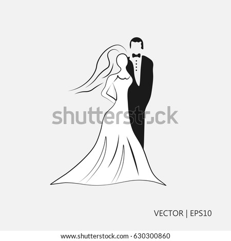 Vector Illustration Young Couple Marriage Woman Stock Vector ...