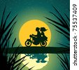 Vector illustration, young couple on motorcycle, card concept. - stock photo