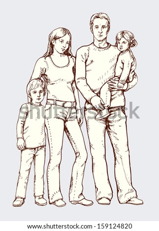 Vector Illustration: young family  - stock vector
