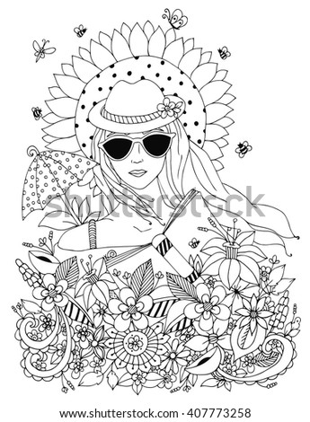 Vector illustration zen tangl, doodle portrait of a woman, a girl in a floral hat box. Summer, sunglasses, umbrella, sun, sunflower. Coloring book anti stress for adults. Black and white. - stock vector