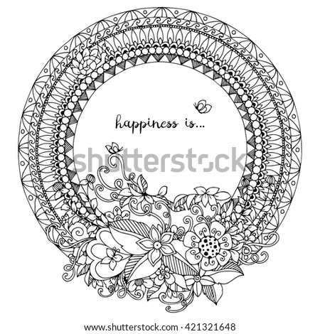 Vector Illustration Zentangl Flowers Poppies Doodle Stock