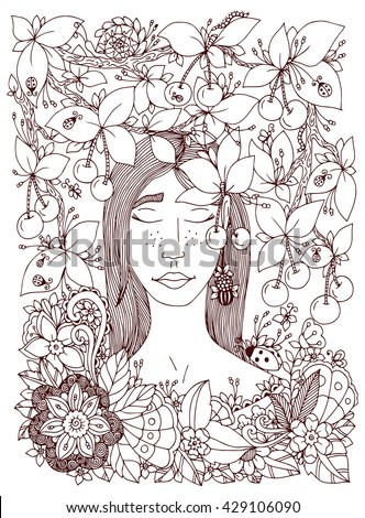 Vector illustration Zen Tangle girl and cherry. Doodle flowers frame. Coloring book anti stress for adults. Brown and white. - stock vector