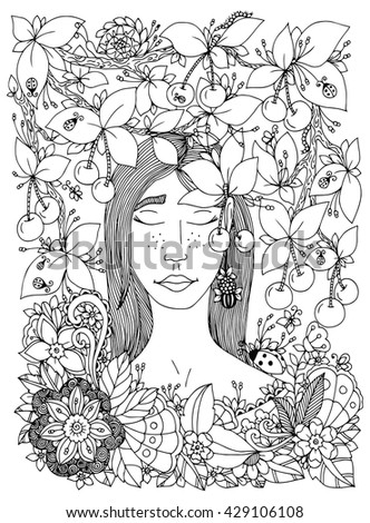 Vector illustration Zen Tangle girl and cherry. Doodle flowers frame. Coloring book anti stress for adults. Black and white.