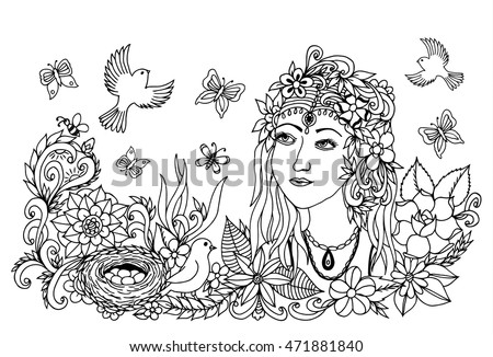 vector illustration zen tangle girl with a bird in the flowers dudling coloring book - Fairy Coloring Books For Adults