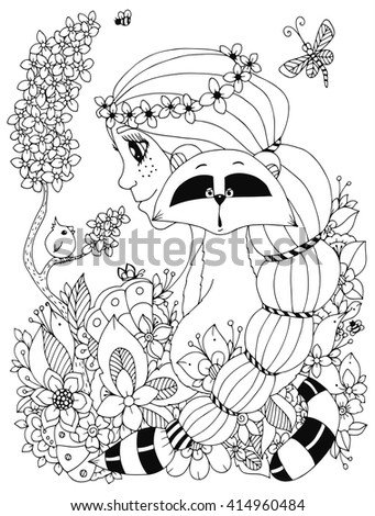Vector illustration Zen Tangle girl with freckles and a raccoon. Doodle flowers, frame, bird. Coloring book anti stress for adults.  Black and white. - stock vector