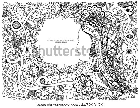 Vector Illustration Zen Tangle Portrait Woman Stock Vector