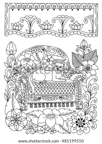 Vector Illustration Zentangl Cat On A Chair In Flowers Doodle Drawing Meditative Exercises